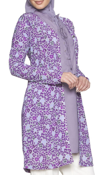 Adair Light Longline Modest Stretch Cardigan Jacket - Purple - ARTIZARA.COM