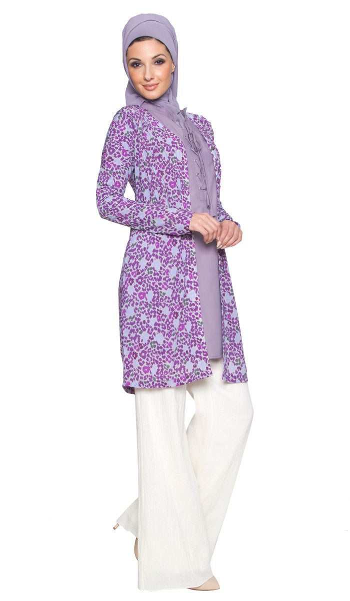 Adair Light Longline Modest Stretch Cardigan Jacket - Purple