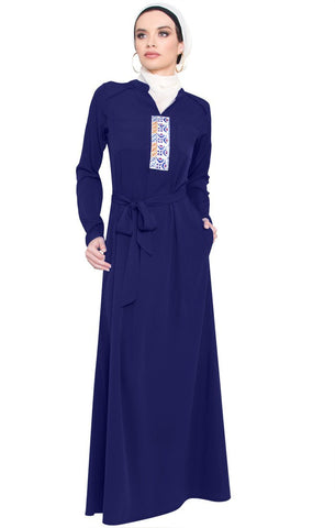 Adina Embroidered Long Maxi Dress Abaya - Navy - ARTIZARA.COM
