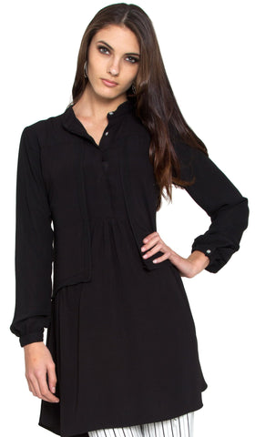 Aisha Chiffon Long Modest Tunic Dress - Black - ARTIZARA.COM