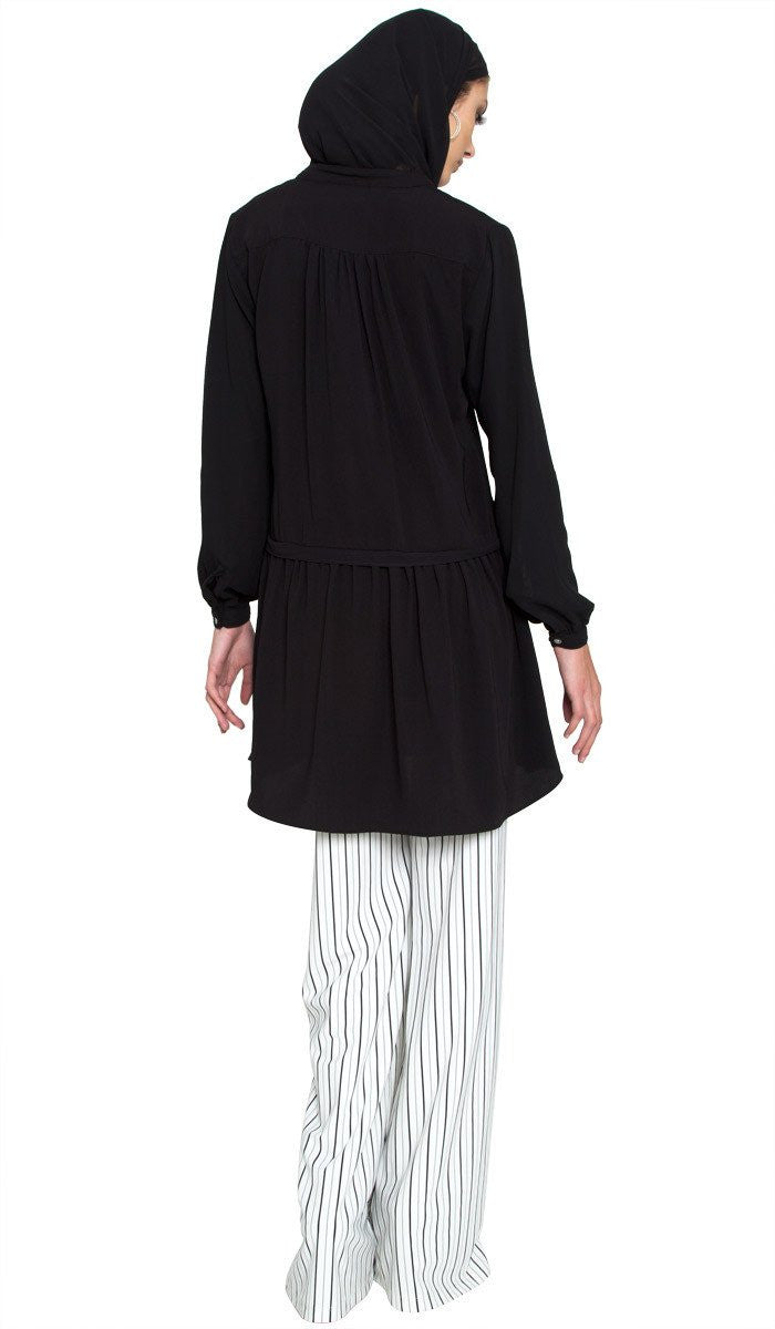 Aisha Chiffon Long Modest Muslim Tunic Dress - Black