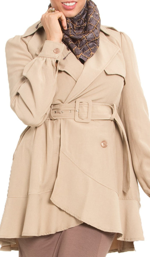 Ala Long Modest Muslim Trench Coat - Sand - ARTIZARA.COM
