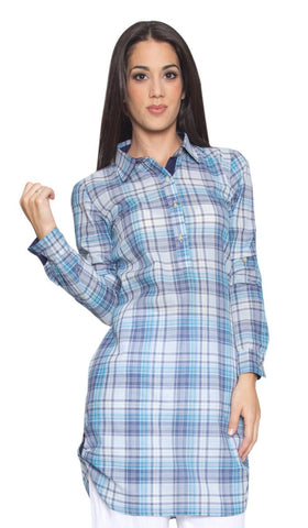 Alexa Long Plaid Buttondown Modest Tunic - Blue - ARTIZARA.COM