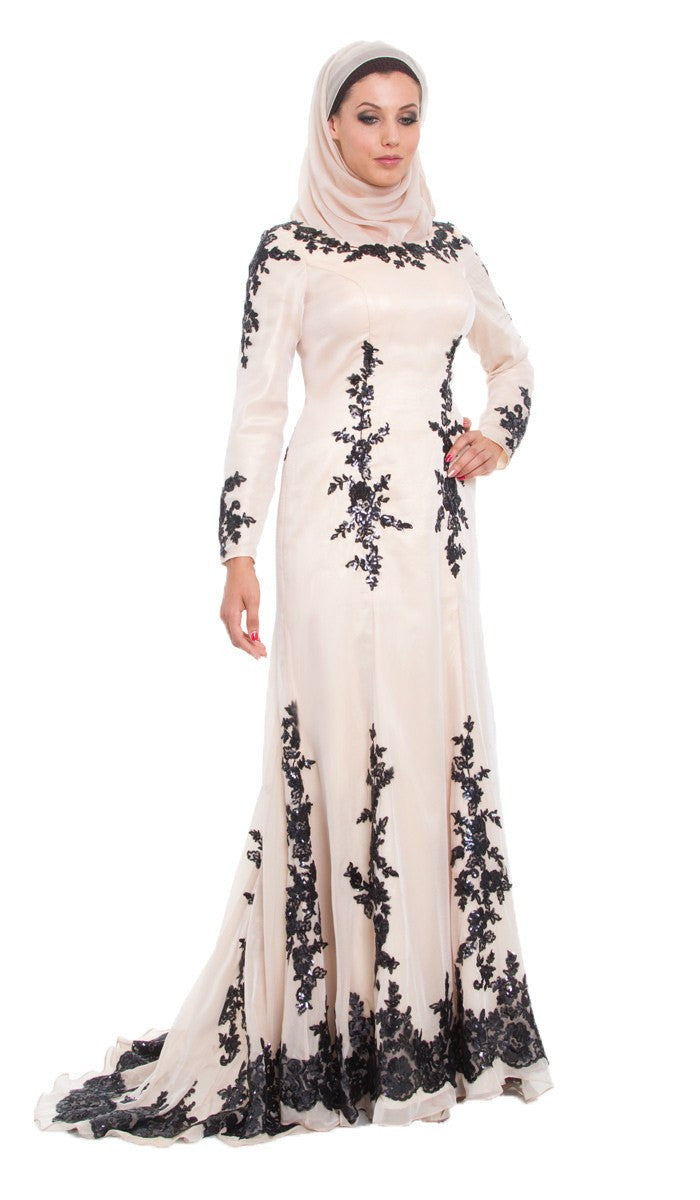 Amira Long Sleeve Silk Formal Modest Muslim Evening Dress - Blush Beige