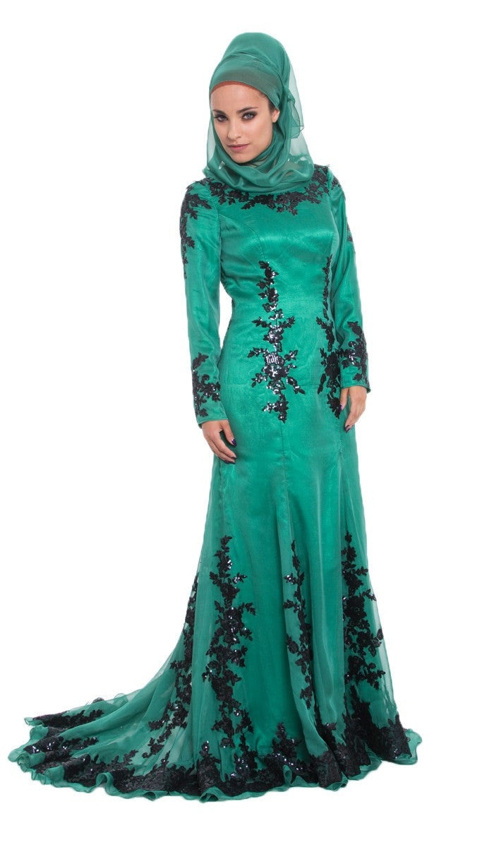Elegant Silk Formal Modest Muslim Evening Dress Emerald Green