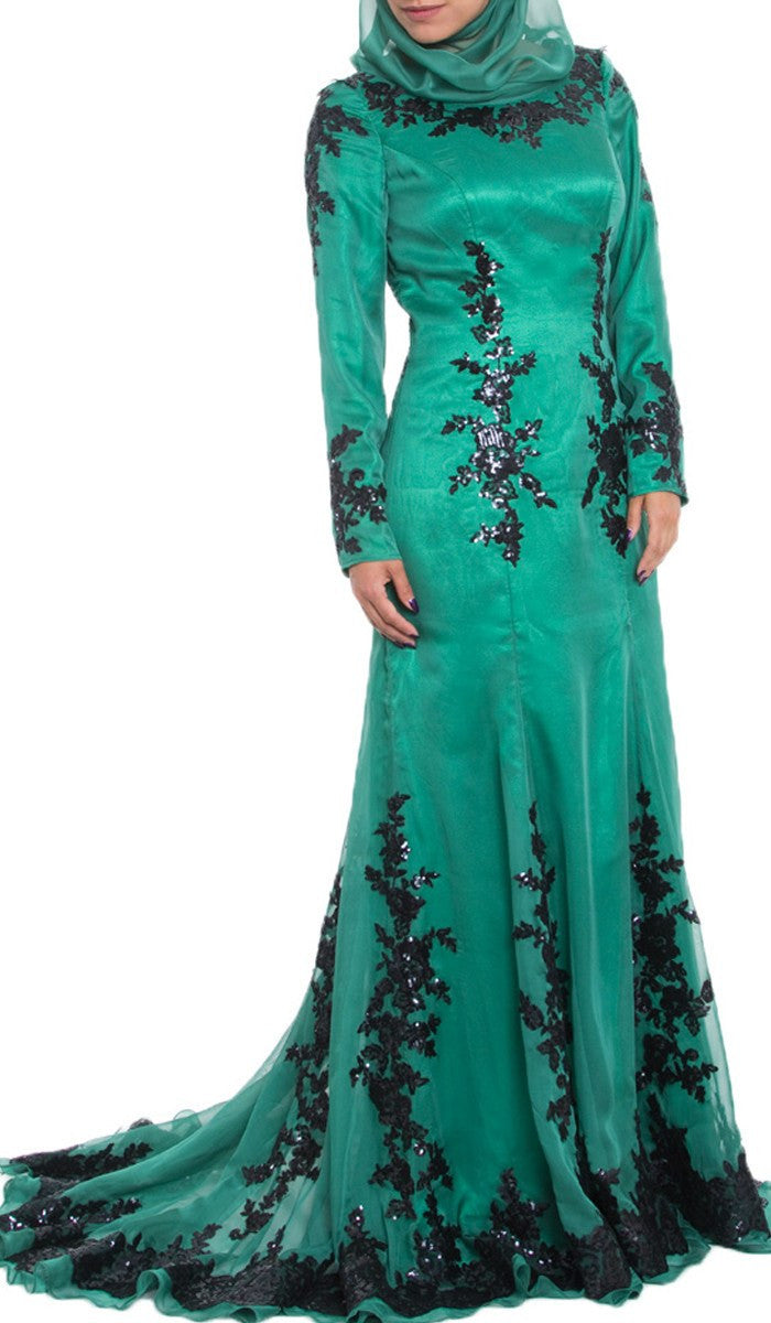 Amira Long Sleeve Silk Formal Modest Muslim Evening Dress - Emerald Green
