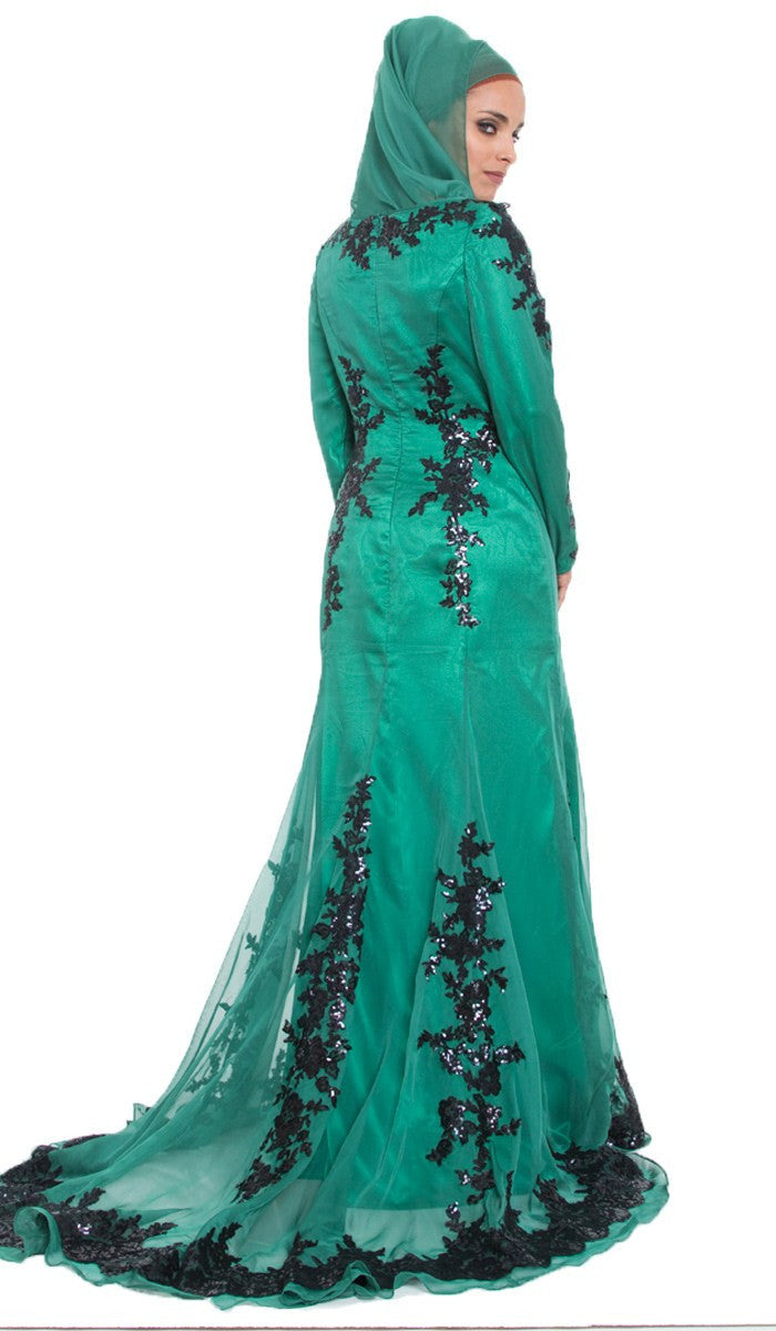 Elegant Silk Formal Modest Muslim Evening Dress Emerald Green ...