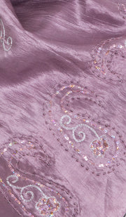Beena Hand Embroidered Silk Wrap Hijab Scarf - Purple - ARTIZARA.COM