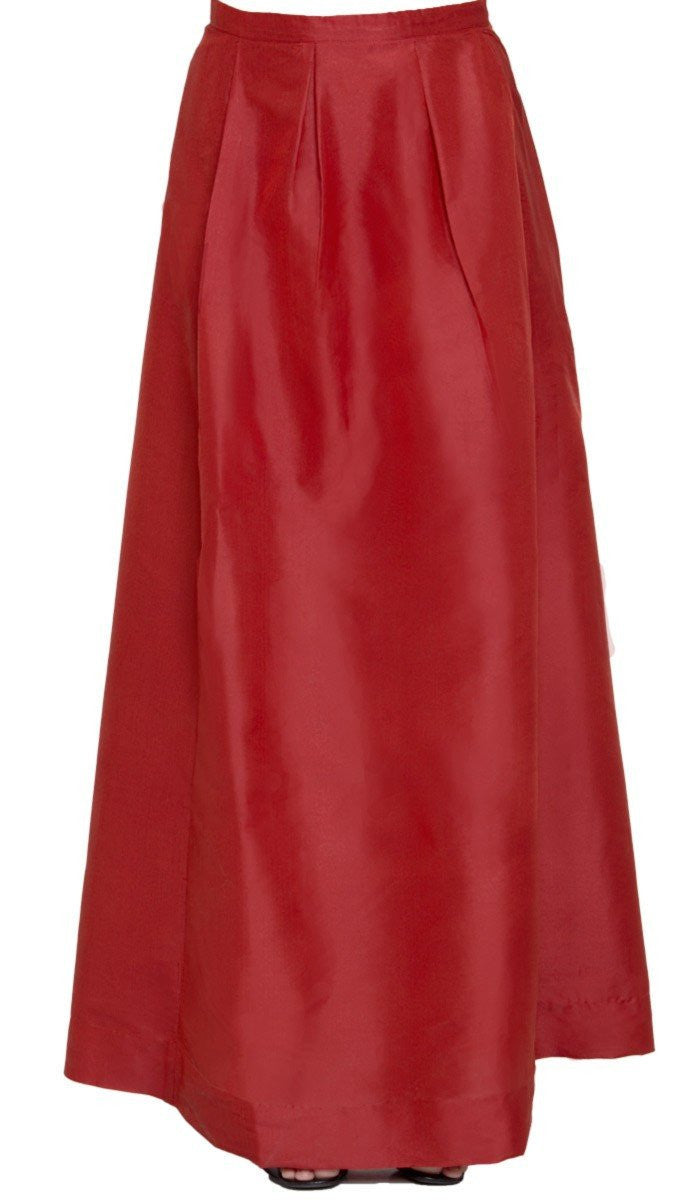Anja Pleated Iridescent Long Maxi Skirt - Burnt Orange