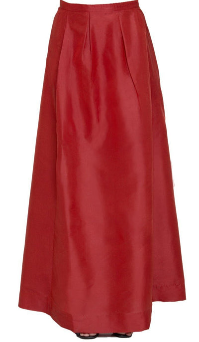 Anja Pleated Iridescent Long Maxi Skirt - Burnt Orange - ARTIZARA.COM