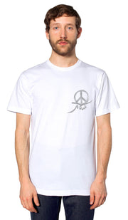 Mens Peace Short Sleeve Designer Tee - White - ARTIZARA.COM