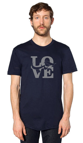 Mens Love Short Sleeve Designer Tee - Navy - ARTIZARA.COM