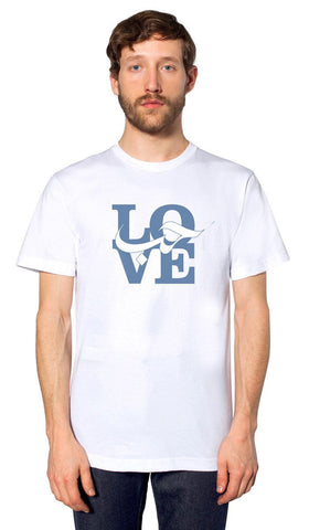 Mens Love Short Sleeve Designer Tee - White - ARTIZARA.COM