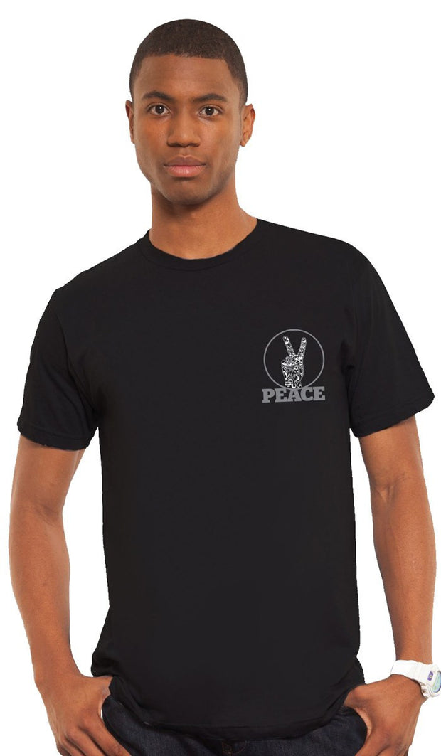 Mens Peace V Sign Short Sleeve Designer Tee - Black - ARTIZARA.COM