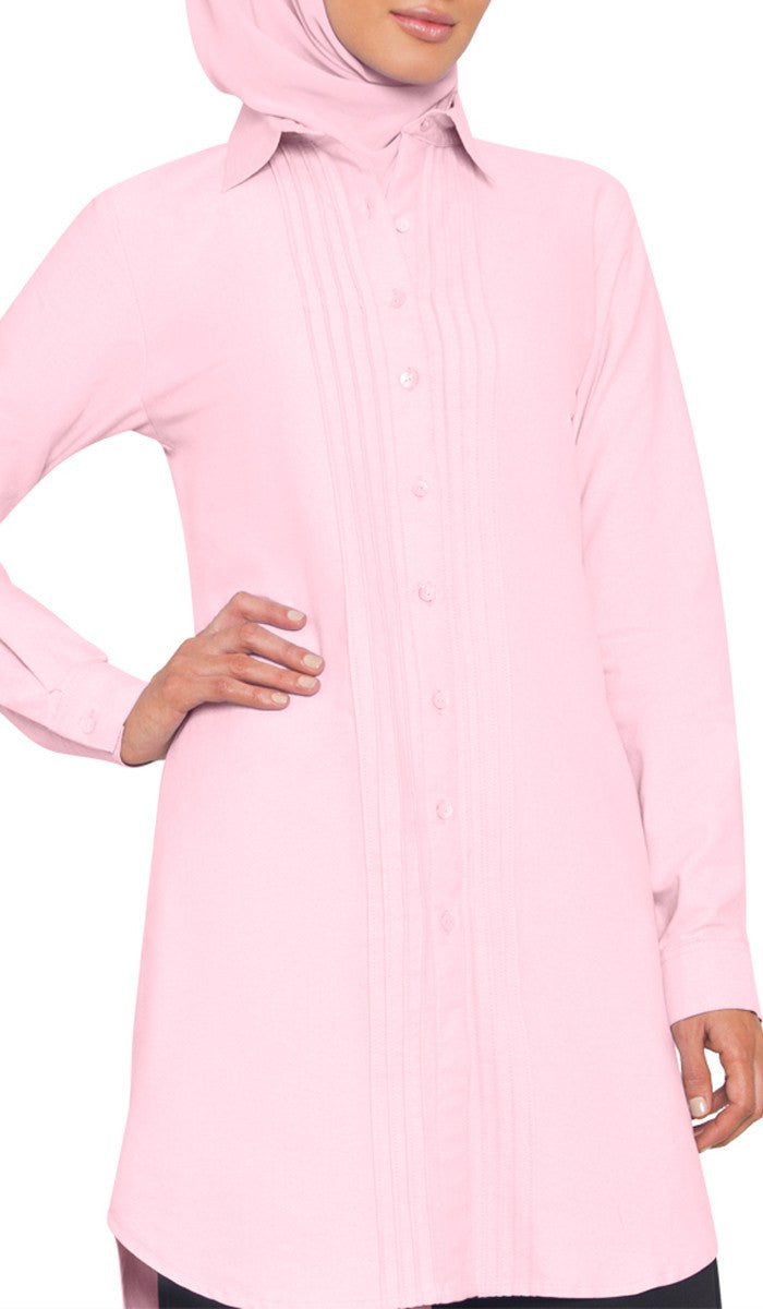 Page 51 Liana Dress Muslim Beige Aria Long Cotton Buttondown Modest Shirt Pink
