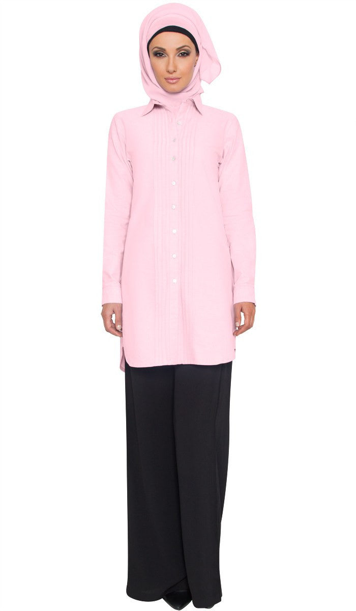 Aria Long Cotton Buttondown Modest Muslim Shirt - Pink - ARTIZARA.COM