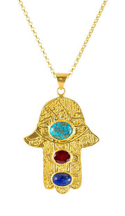"Handcrafted Gold-plated  ""Evil Eye"" Khamsa Necklace with Semiprecious Stones - ARTIZARA.COM"