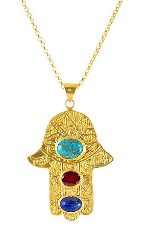 "Handcrafted Gold-plated  ""Evil Eye"" Khamsa Necklace with Semiprecious Stones"