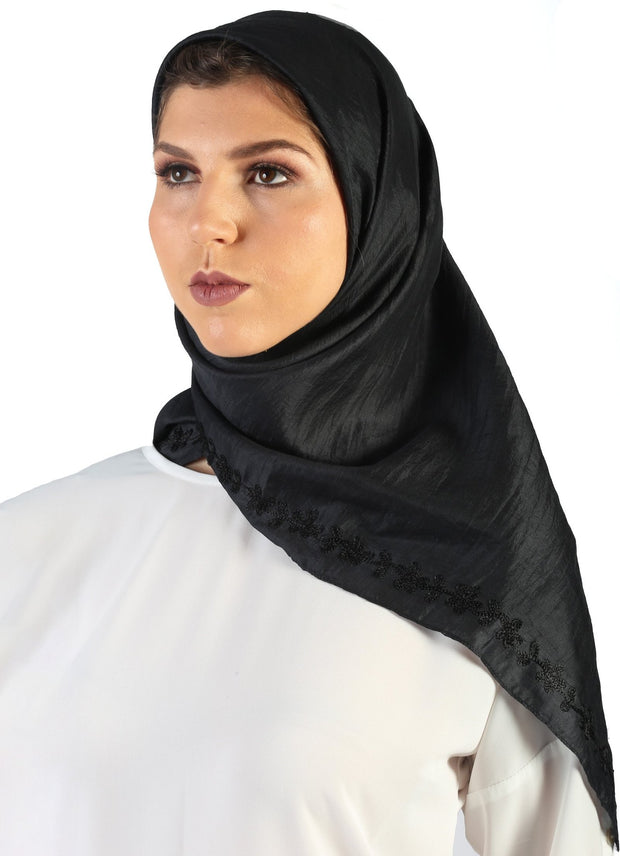 Arwa Hand Embroidered Square Silk Wrap Hijab - Black