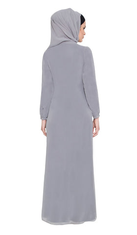 Asifa Navy / Gray 2 in 1 Reversible Abaya with wrap Hijab - ARTIZARA.COM