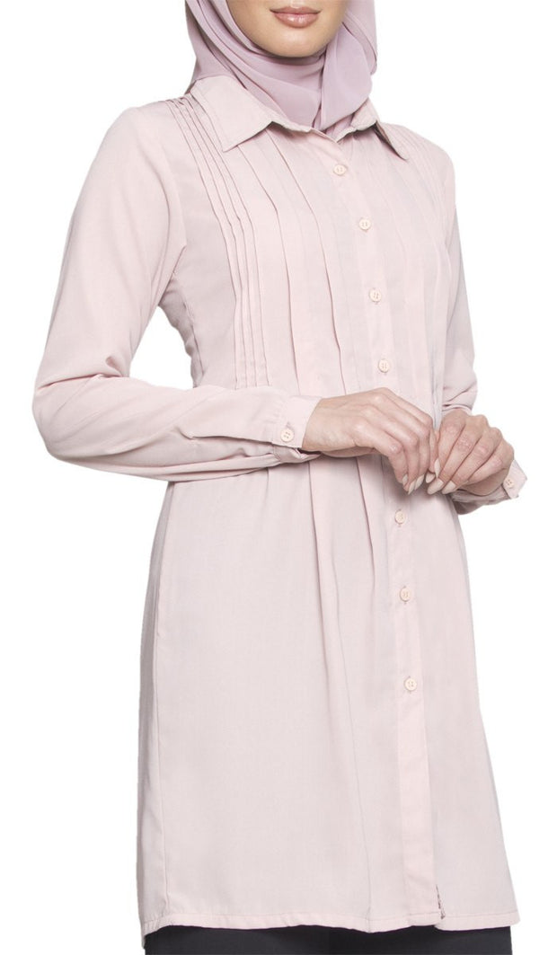 Aubrie Long Buttondown Modest Tunic Dress - Dusty Pink - ARTIZARA.COM