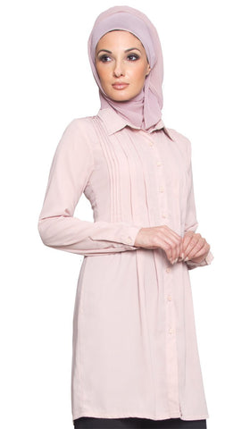 Aubrie Long Buttondown Modest Muslim Tunic Dress - Dusty Pink - ARTIZARA.COM