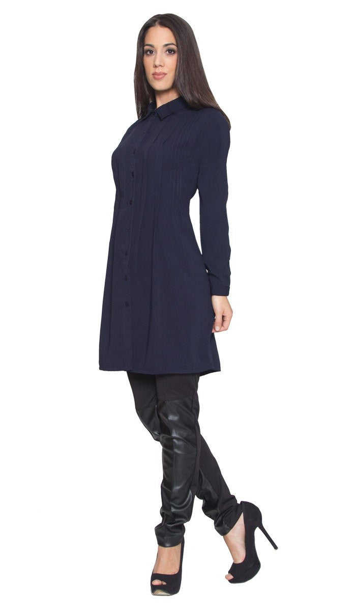 Aubrie Long Buttondown Modest Tunic Dress - Navy - ARTIZARA.COM