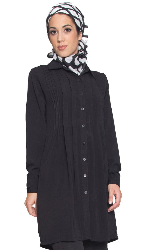 Aubrie Long Buttondown Modest Tunic Dress - Black - ARTIZARA.COM