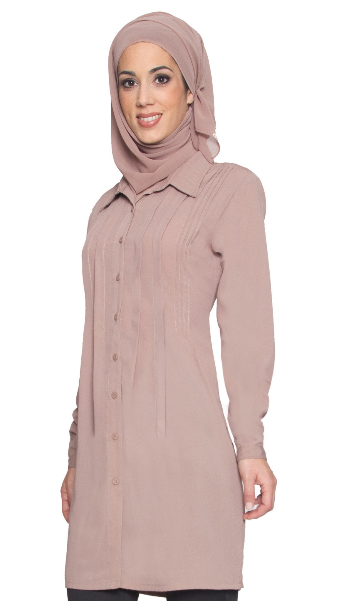 Aubrie Long Buttondown Modest Tunic Dress - Mocha - ARTIZARA.COM