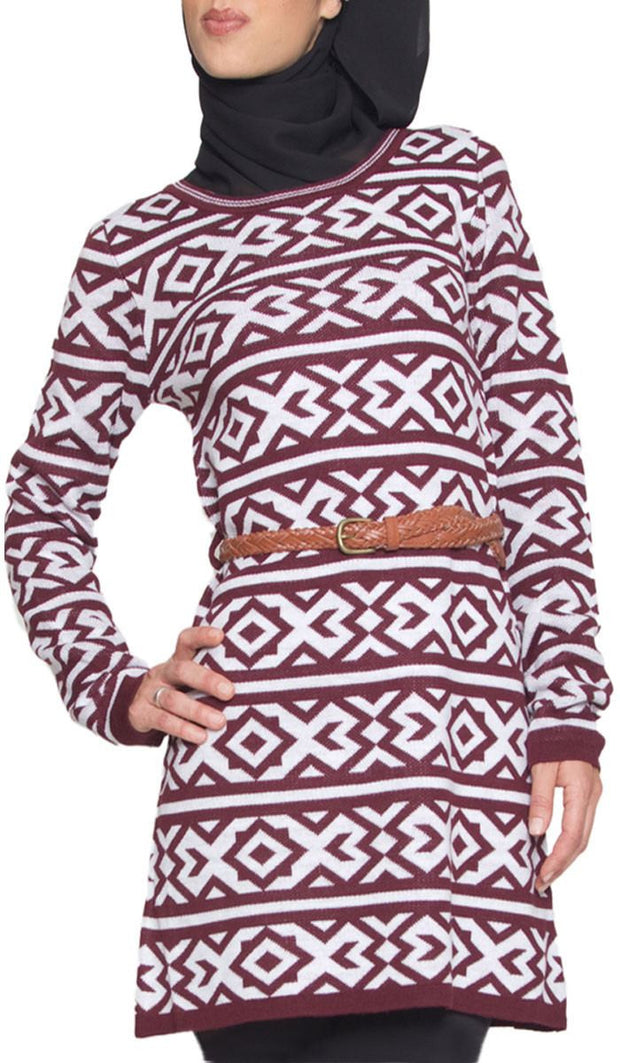 Long Knit Modest Tunic Dress - Maroon - ARTIZARA.COM