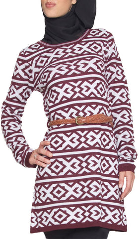 Long Knit Modest Muslim Tunic Dress - Maroon - ARTIZARA.COM