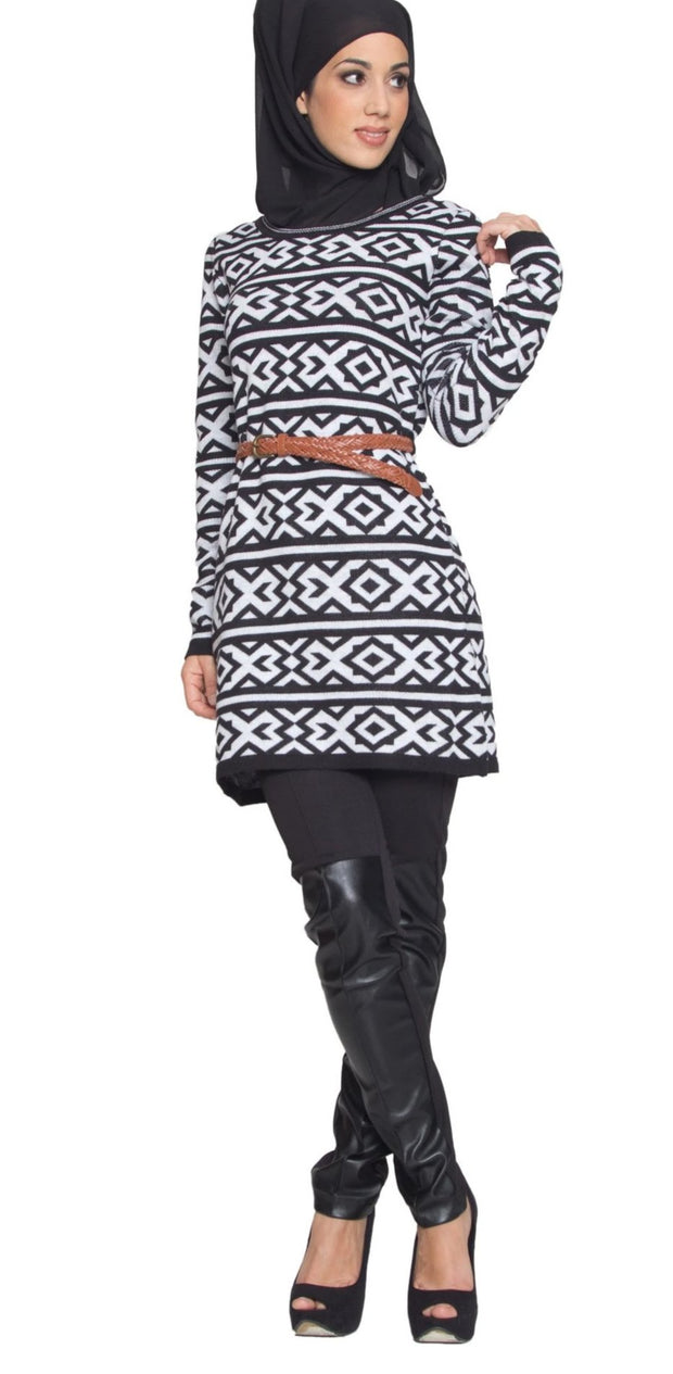 Long Knit Modest Muslim Tunic Dress - Black - ARTIZARA.COM