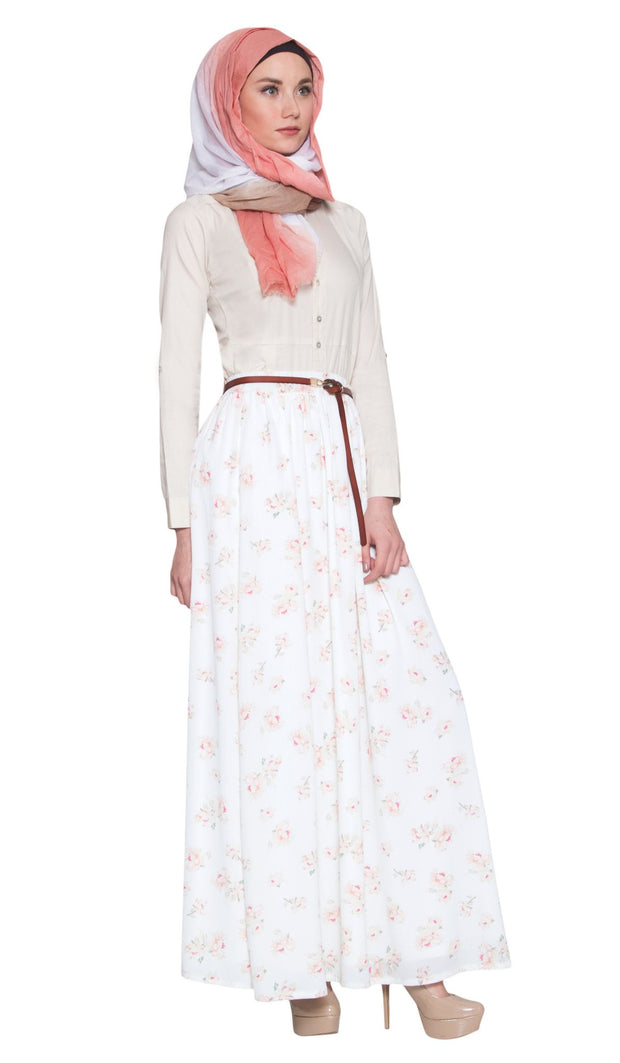 Daniela Rose Print Long Maxi Skirt - Cream - ARTIZARA.COM