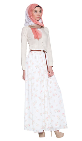 Daniela Rose Print Long Maxi Skirt - Cream