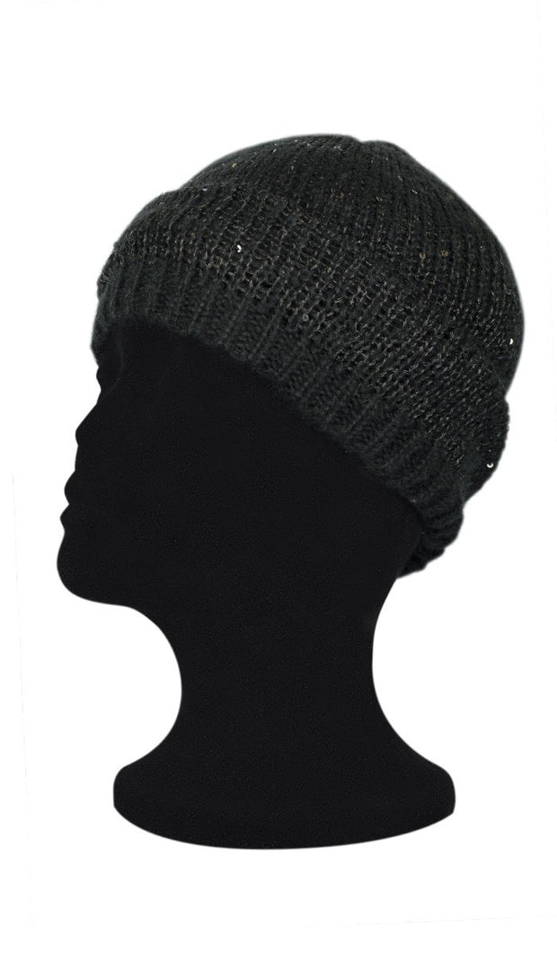 Stretchy Knit Beanie with Sequins - Black - ARTIZARA.COM