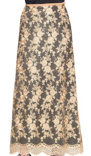 Davina Formal Lace Flared Long Maxi Skirt- Black / Gold - ARTIZARA.COM