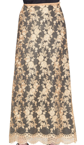Davina Formal Lace Flared Long Maxi Skirt- Black / Gold