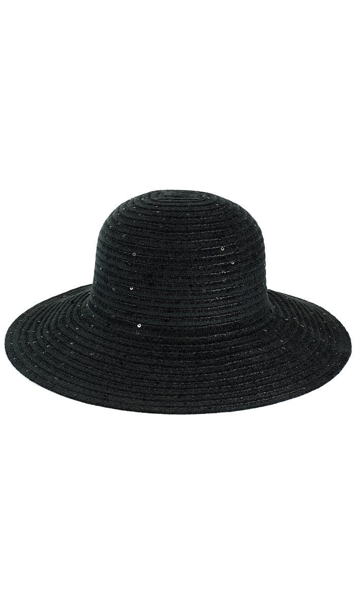 Black Chenille Womens Floppy Hat with Sequins - ARTIZARA.COM