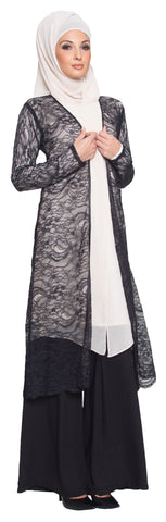 Lightweight Long Eyelash Lace Kimono Duster - Black - ARTIZARA.COM