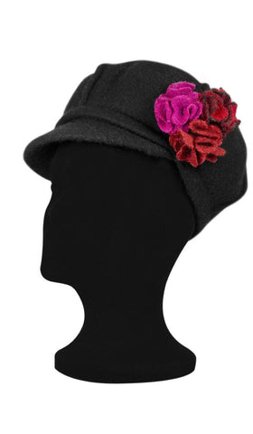 Roomy Wool Newsboy Hat with flower pin - Black