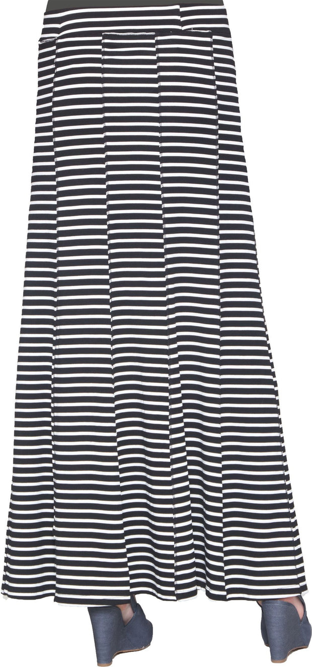 Julianne Stretch Flared Maxi Skirt - Black and White - ARTIZARA.COM