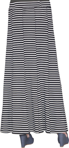 Julianne Stretch Flared Maxi Skirt - Black and White