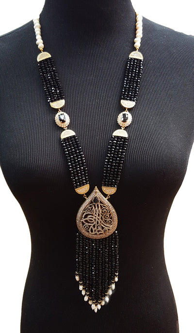 Long Black Turkish Tassel Statement Necklace