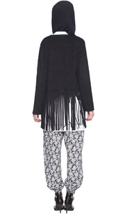 Karin Faux Suede Light Long Fringed Jacket - Black - ARTIZARA.COM