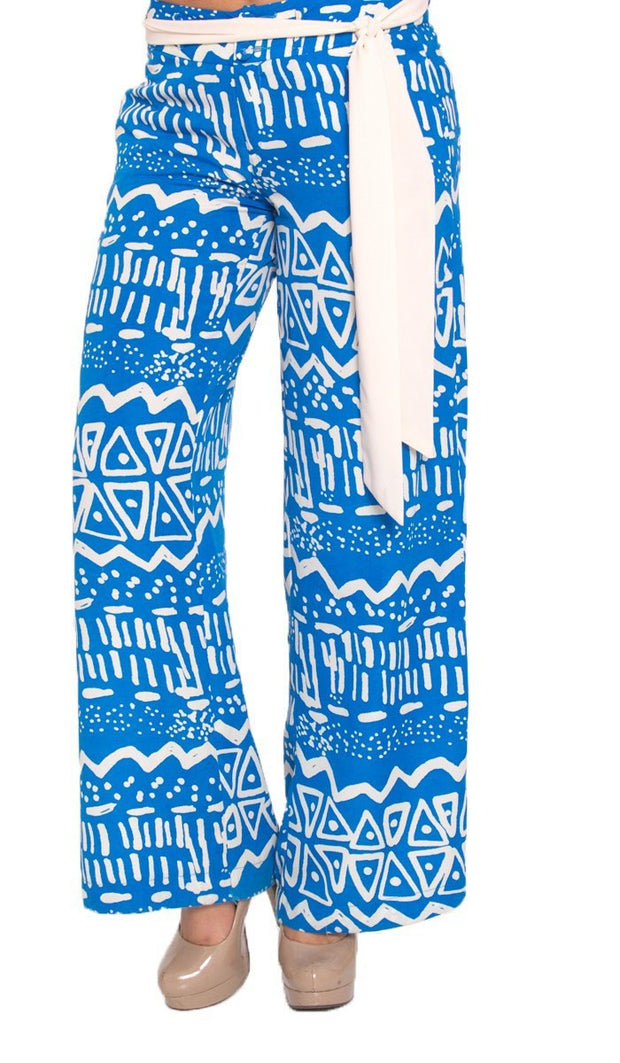 Blue and Off White Printed Wide Leg Palazzo Pants - ARTIZARA.COM