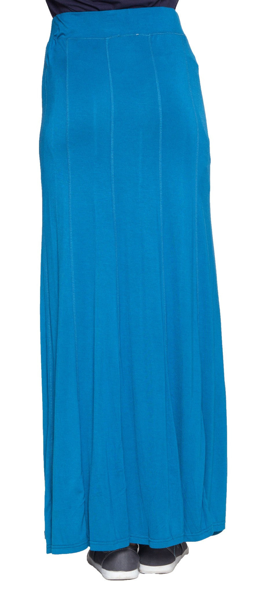 Marie Stretch Flared Maxi Skirt - Blue