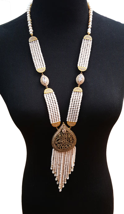 Long Blush Pink Turkish Tassel Statement Necklace