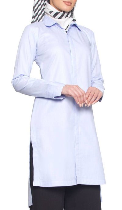 Brenda Buttondown Cotton Long Modest Muslim Shirt - Light Blue - ARTIZARA.COM