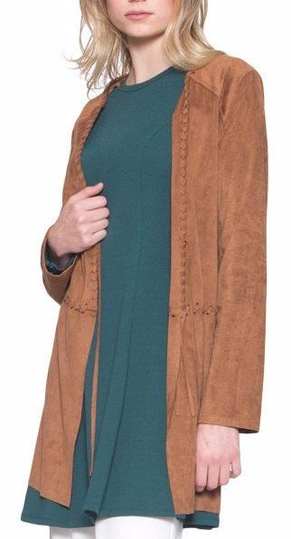 Zeena Faux Suede Light Long Jacket - Brown - ARTIZARA.COM