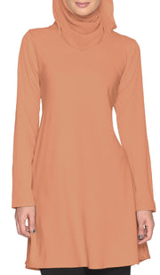 Camilla Simple Long Tunic - Toffee - ARTIZARA.COM